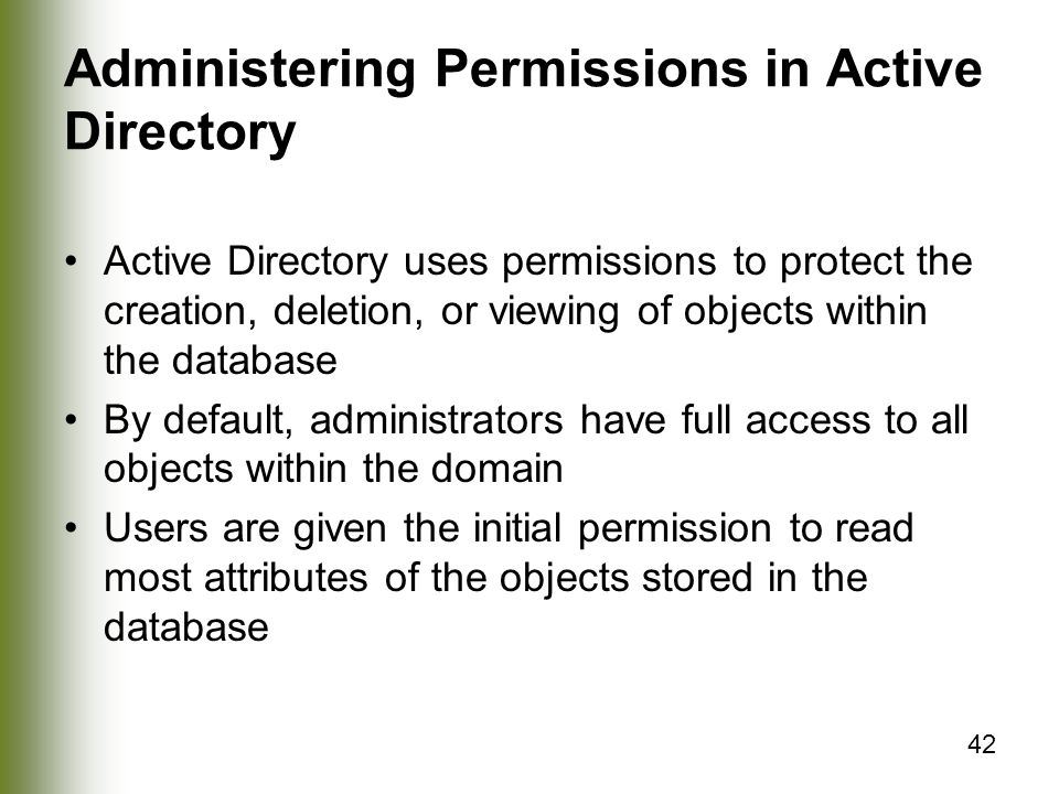 Administering Permissions in Active Directory
