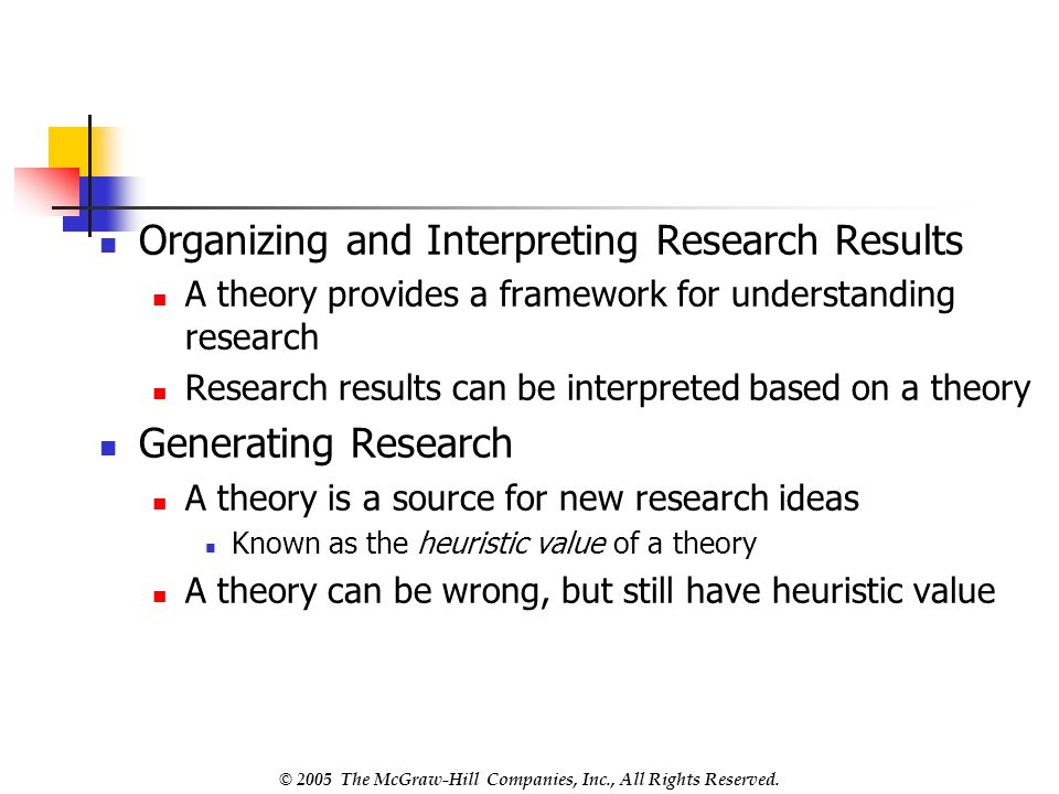 Organizing and Interpreting Research Results