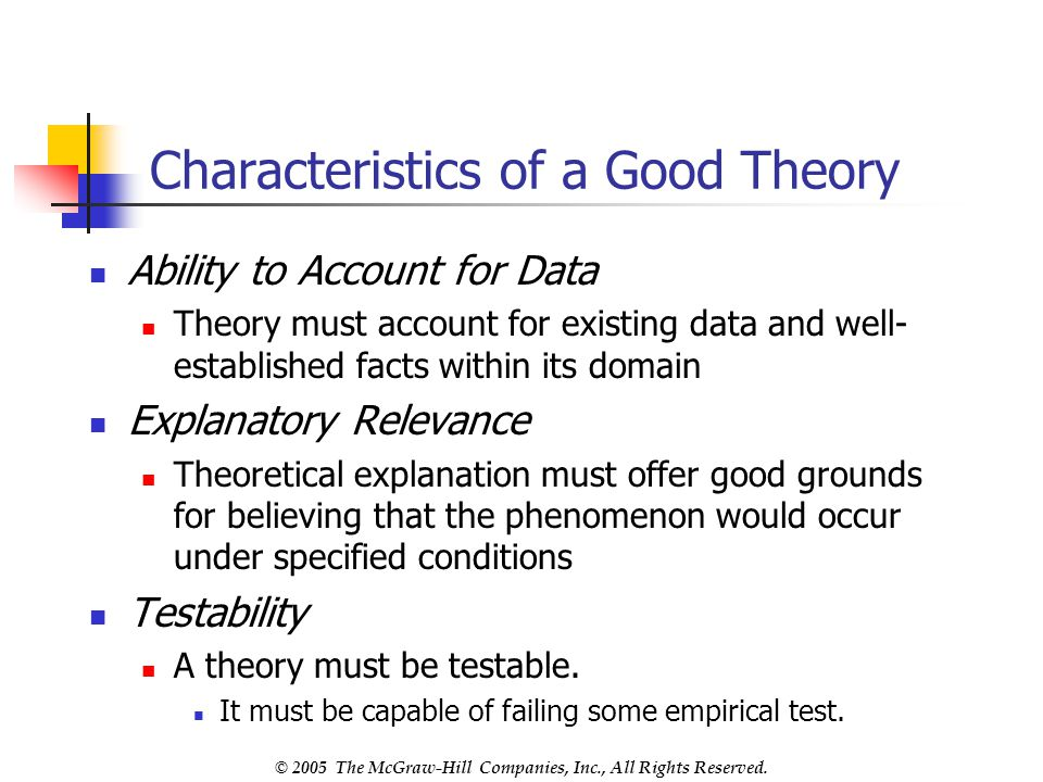 Characteristics of a Good Theory