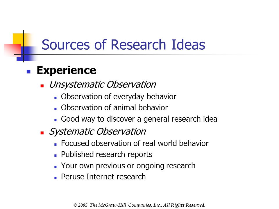 Sources of Research Ideas