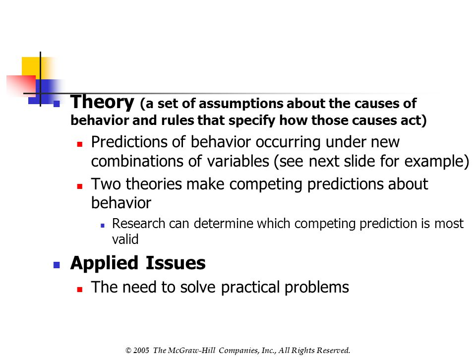 Theory (a set of assumptions about the causes of behavior and rules that specify how those causes act)