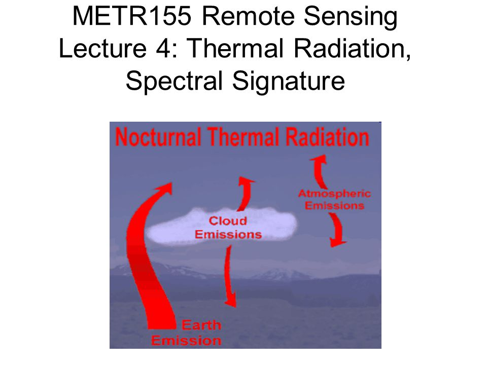 METR155 Remote Sensing Lecture 4: Thermal Radiation, Spectral Signature