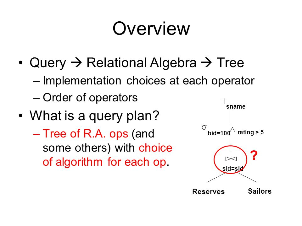 CS186 Final Review Query Optimization  - ppt video online