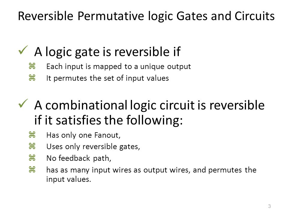 Reversible Permutative logic Gates and Circuits