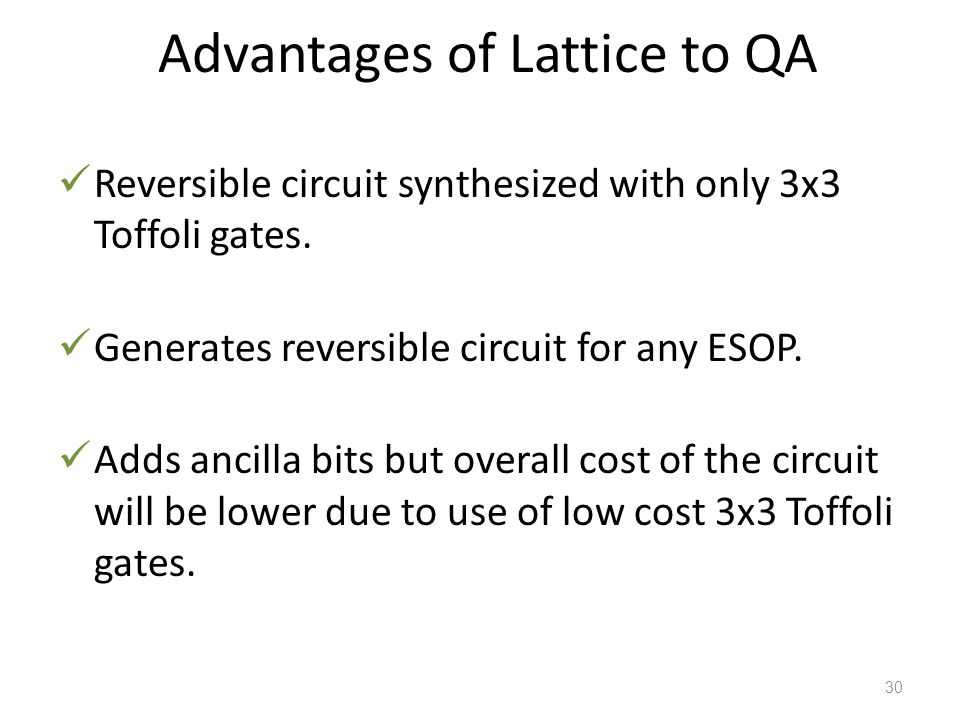 Advantages of Lattice to QA