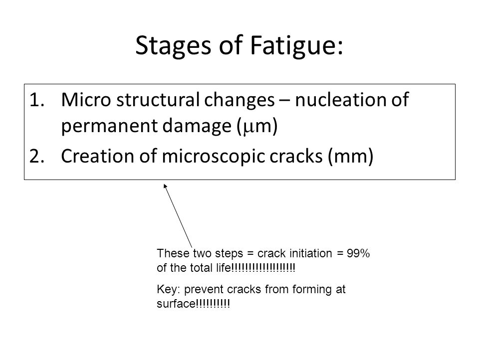 Stages of Fatigue: Micro structural changes – nucleation of permanent damage (mm) Creation of microscopic cracks (mm)