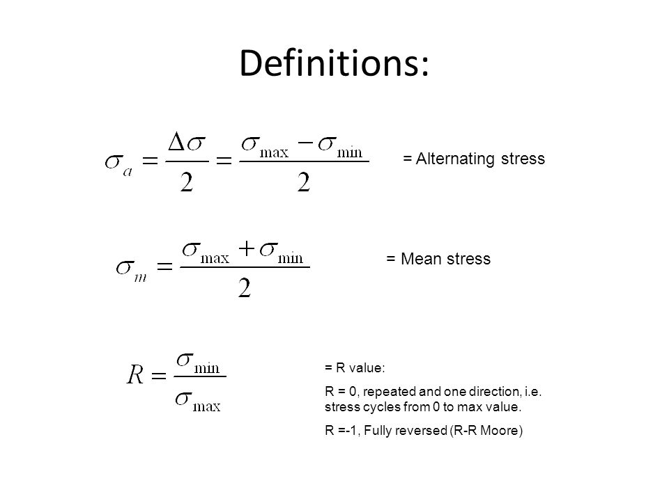 Definitions: = Alternating stress = Mean stress = R value: