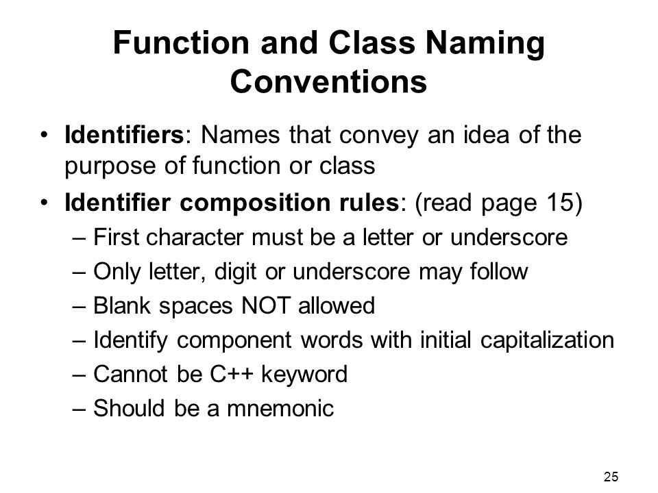 Function and Class Naming Conventions