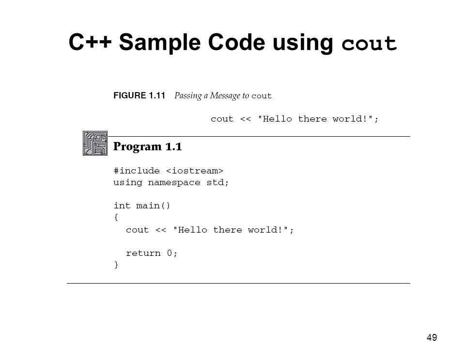 C++ Sample Code using cout