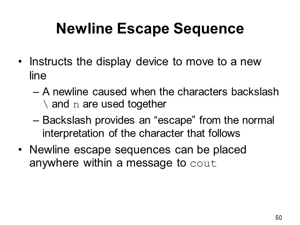Newline Escape Sequence