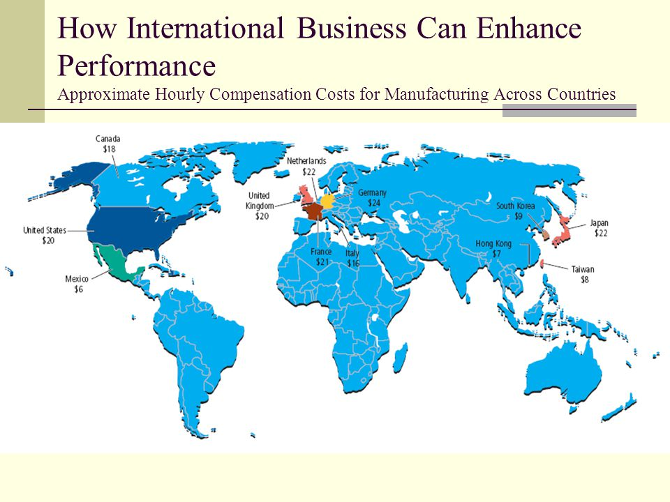 How International Business Can Enhance Performance Approximate Hourly Compensation Costs for Manufacturing Across Countries