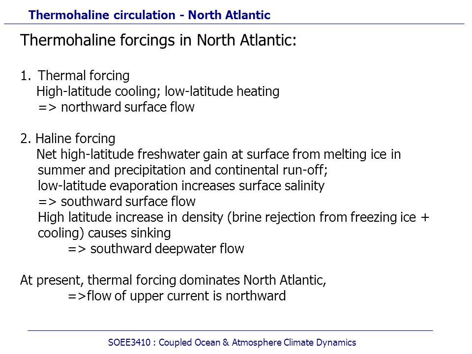 Thermohaline circulation - North Atlantic