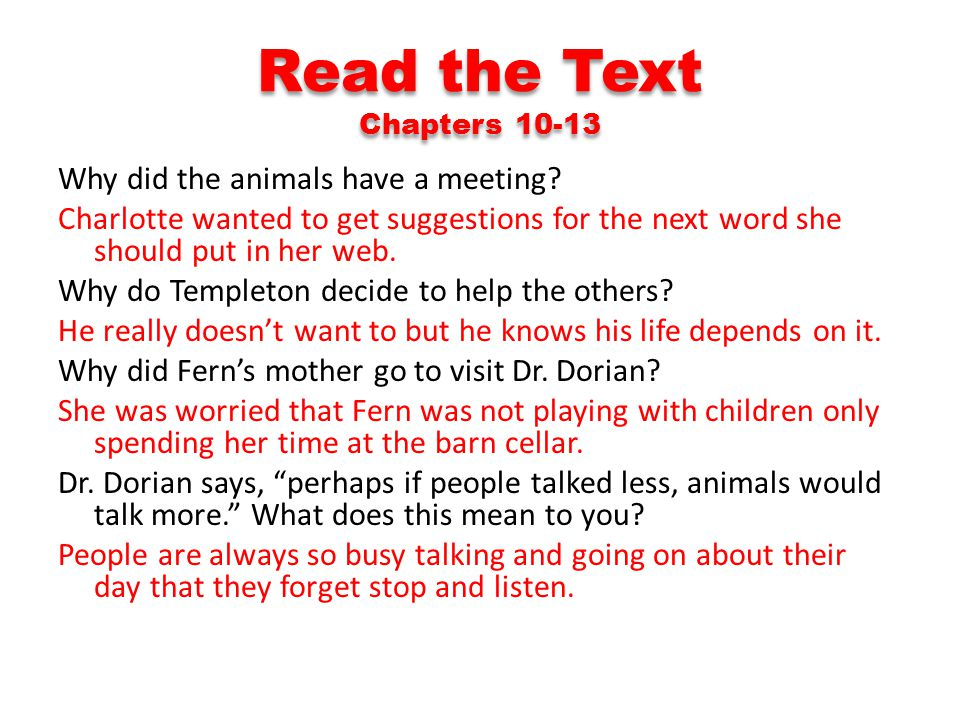 Read the Text Chapters 10-13