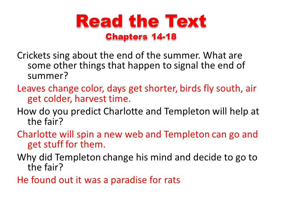 Read the Text Chapters 14-18