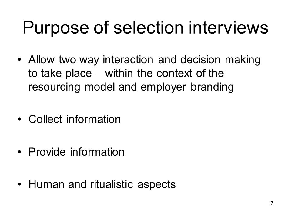 purpose of selection