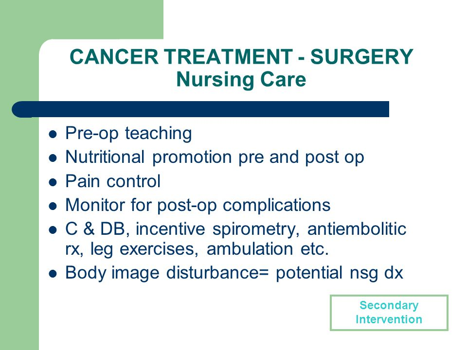 CARE OF THE PATIENT WITH CANCER - Nursing Implications - ppt