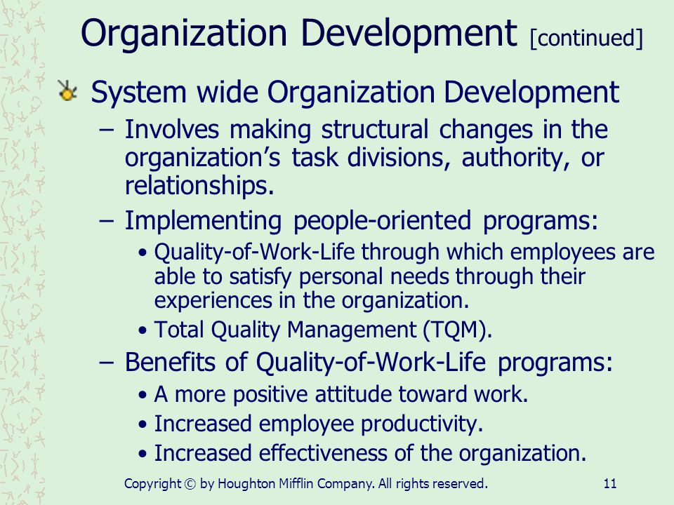 Organization Development [continued]