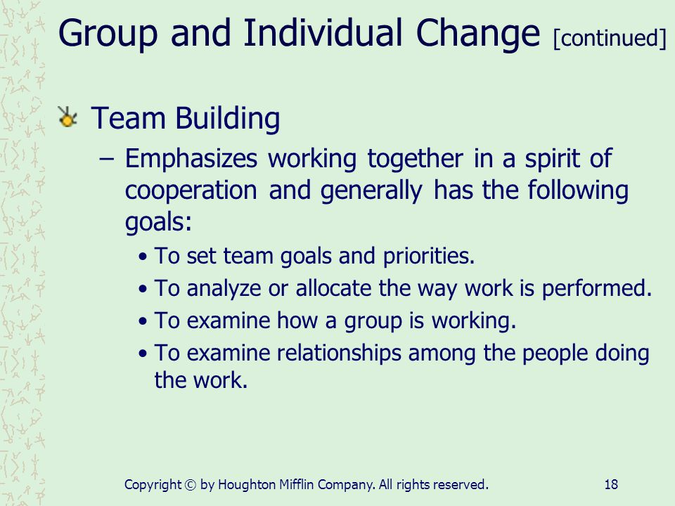 Group and Individual Change [continued]