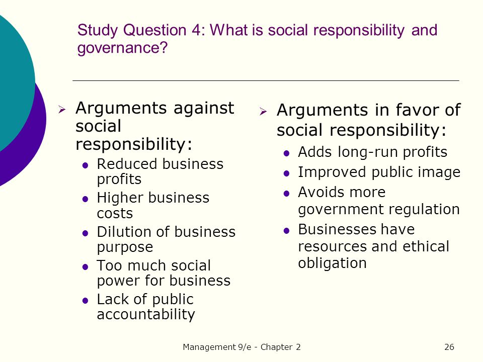 Study Question 4: What is social responsibility and governance
