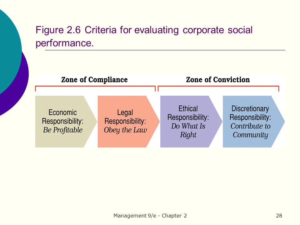 Figure 2.6 Criteria for evaluating corporate social performance.