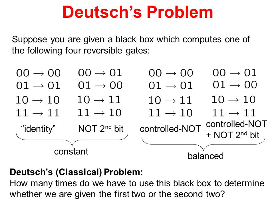 Deutsch's Problem Suppose you are given a black box which computes one of. the following four reversible gates: