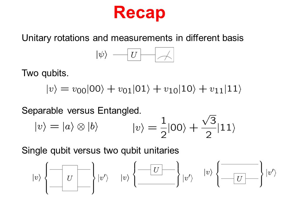 Recap Unitary rotations and measurements in different basis