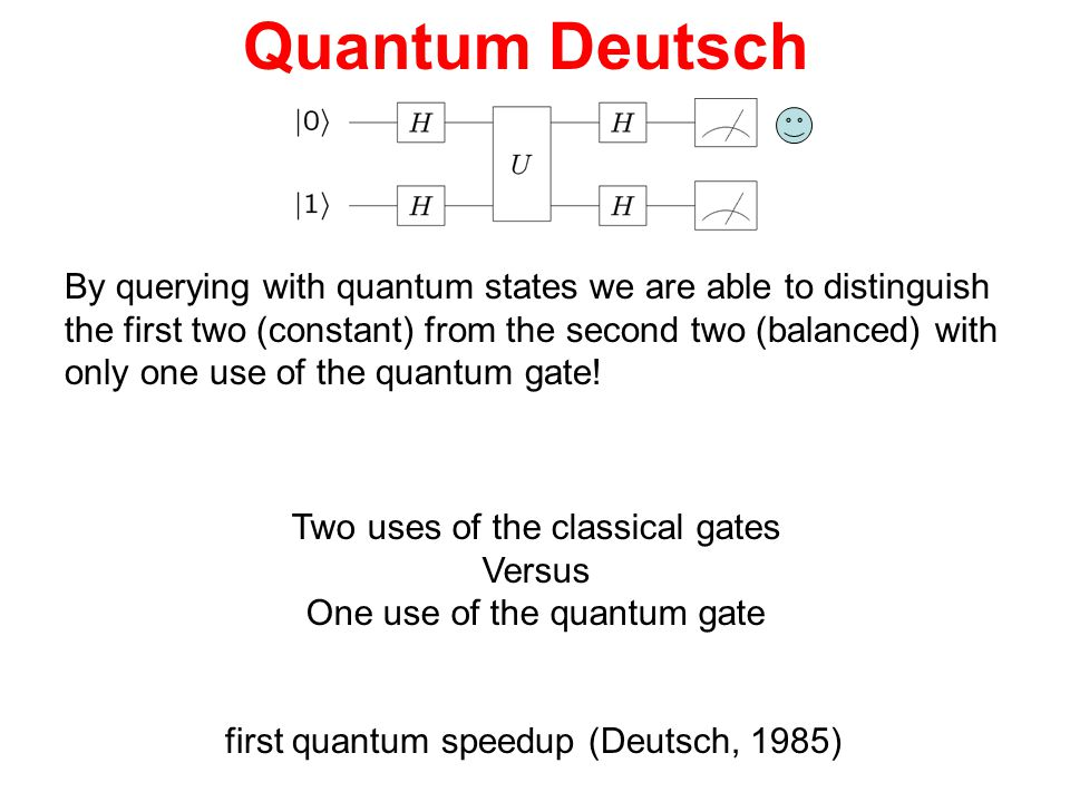 Quantum Deutsch By querying with quantum states we are able to distinguish. the first two (constant) from the second two (balanced) with.