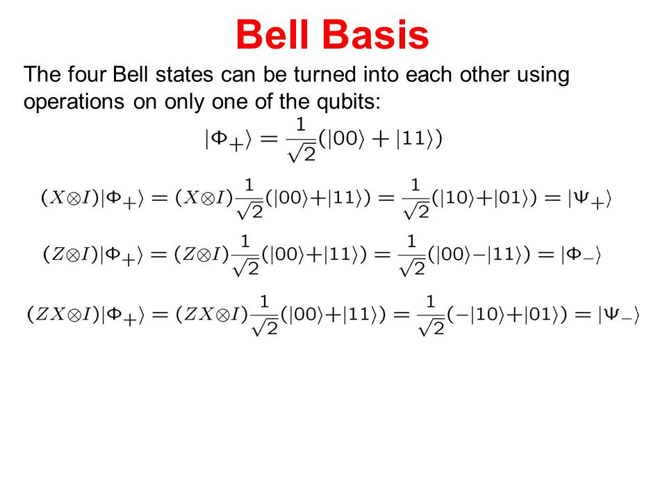 Bell Basis The four Bell states can be turned into each other using
