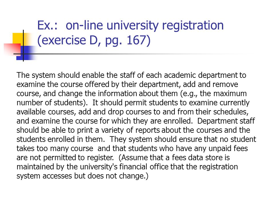 Gathering information and use case scenarios ppt video online download ex on line university registration exercise d pg 167 17 use case ccuart Choice Image