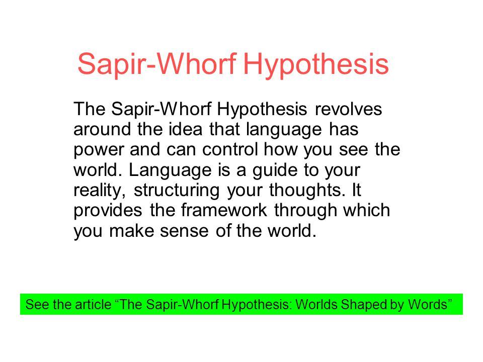 Sapir Whorf Hypothesis Ppt Download