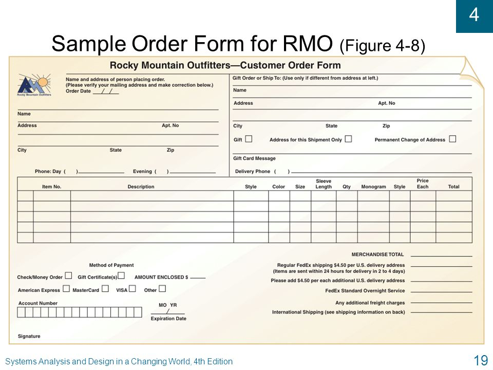 Sample Order Form for RMO (Figure 4-8)