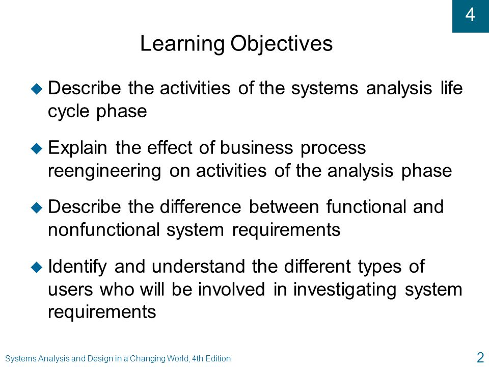 Learning Objectives Describe the activities of the systems analysis life cycle phase.
