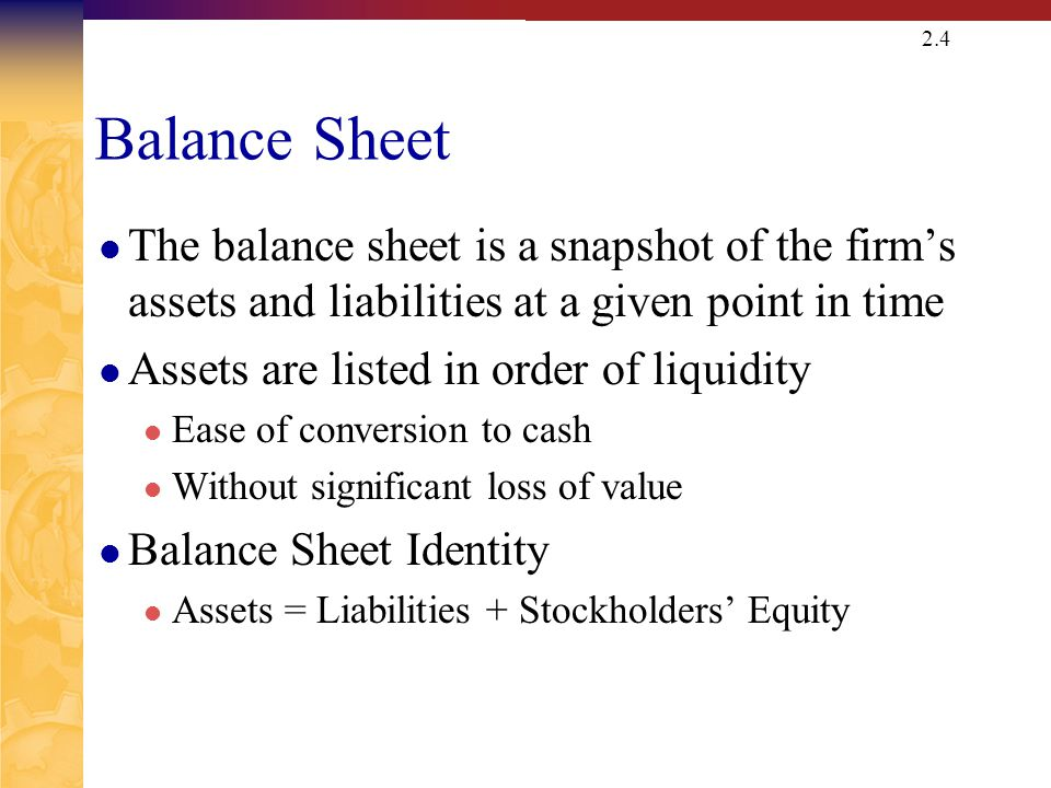 Balance Sheet Assets = Liabilities + Owners' Equity