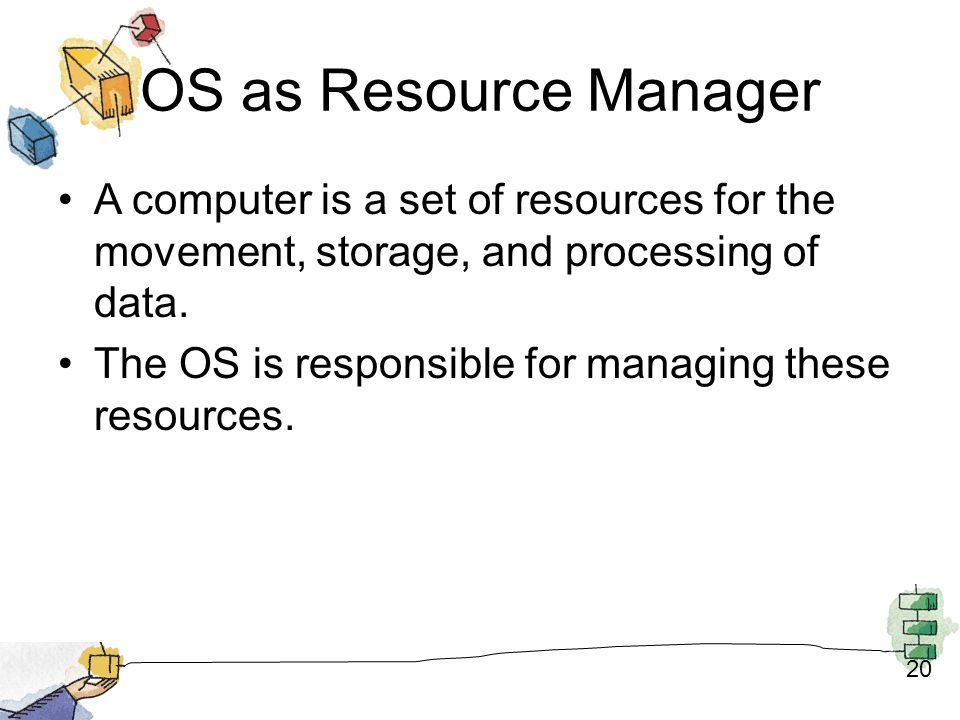 OS as Resource Manager A computer is a set of resources for the movement, storage, and processing of data.