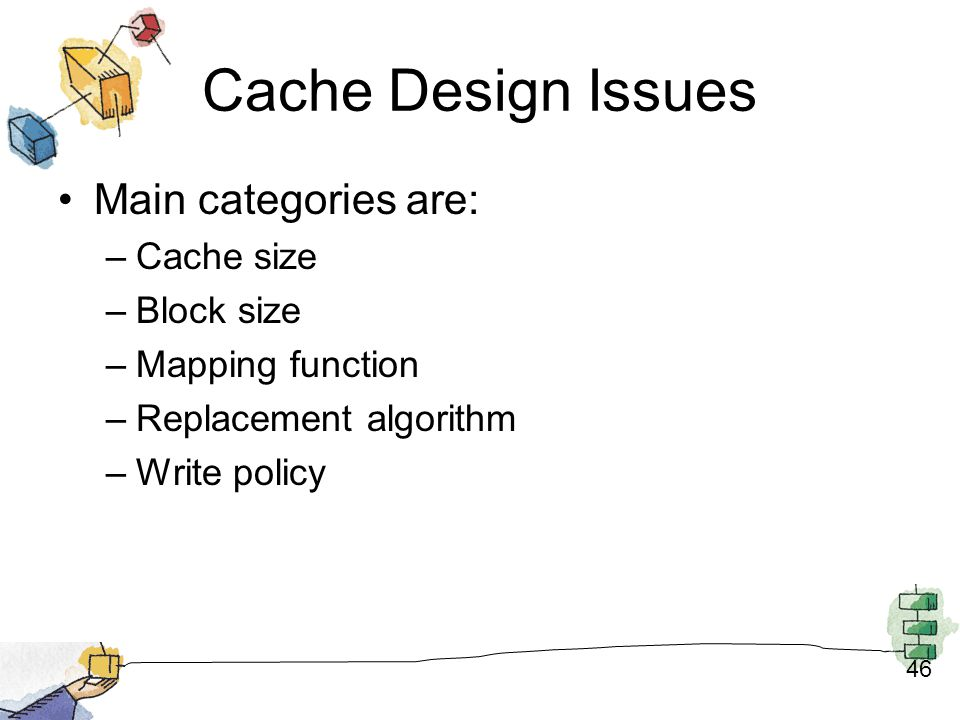 Cache Design Issues Main categories are: Cache size Block size