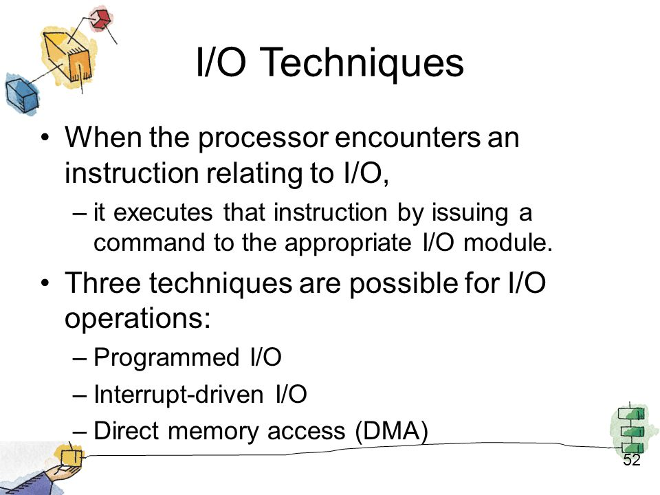 I/O Techniques When the processor encounters an instruction relating to I/O,