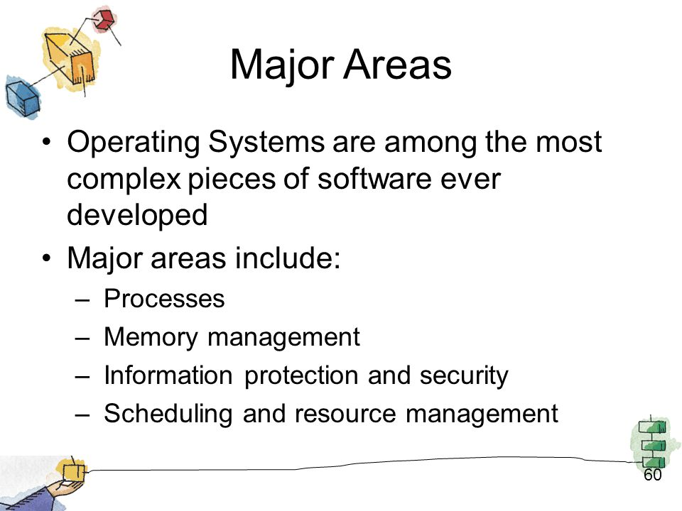 Major Areas Operating Systems are among the most complex pieces of software ever developed. Major areas include: