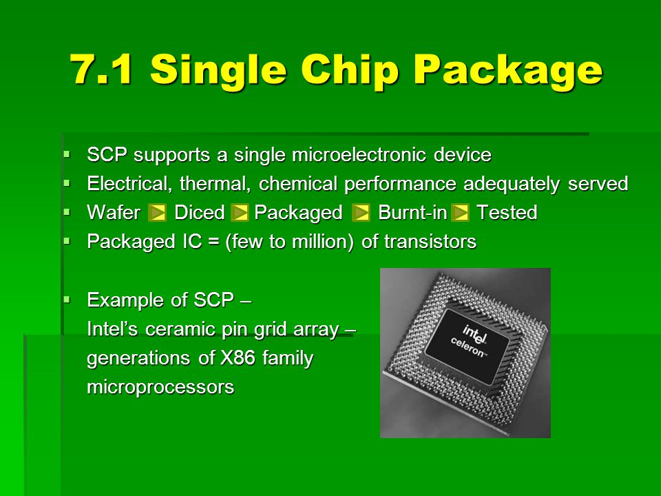 7.1 Single Chip Package SCP supports a single microelectronic device