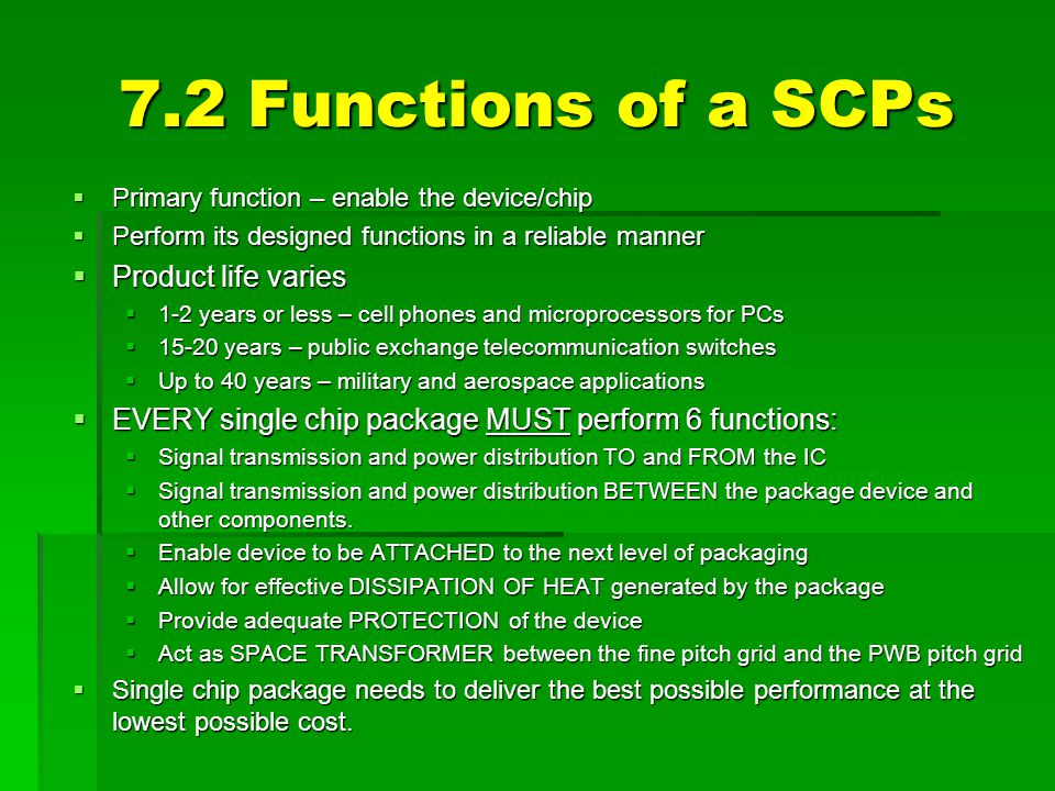 7.2 Functions of a SCPs Product life varies