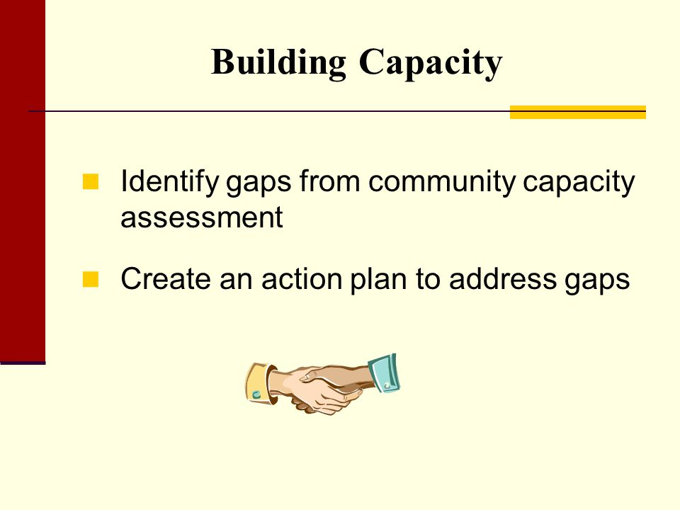 Building Capacity Identify gaps from community capacity assessment