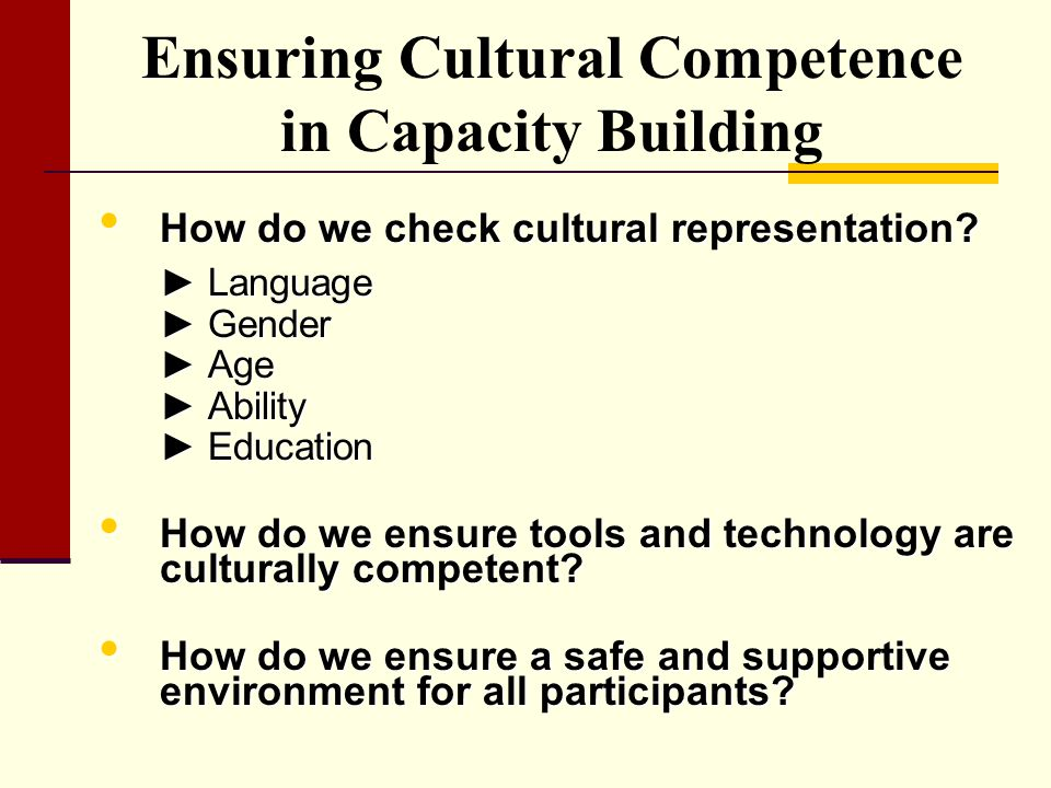 Ensuring Cultural Competence in Capacity Building