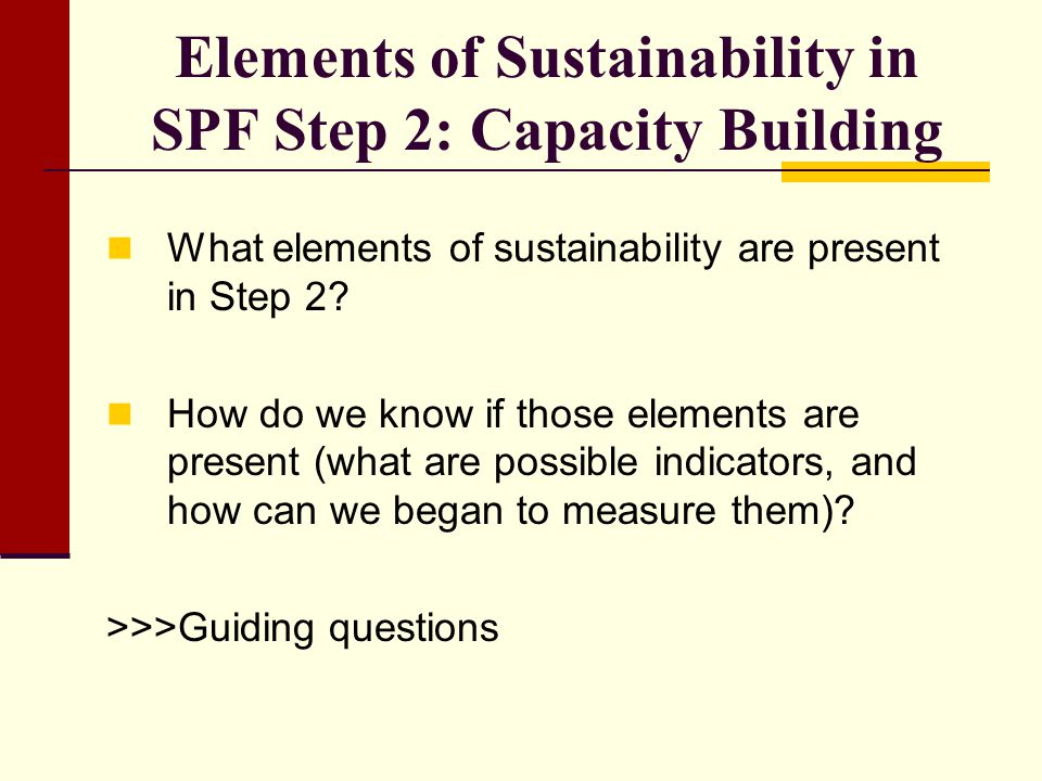 Elements of Sustainability in SPF Step 2: Capacity Building