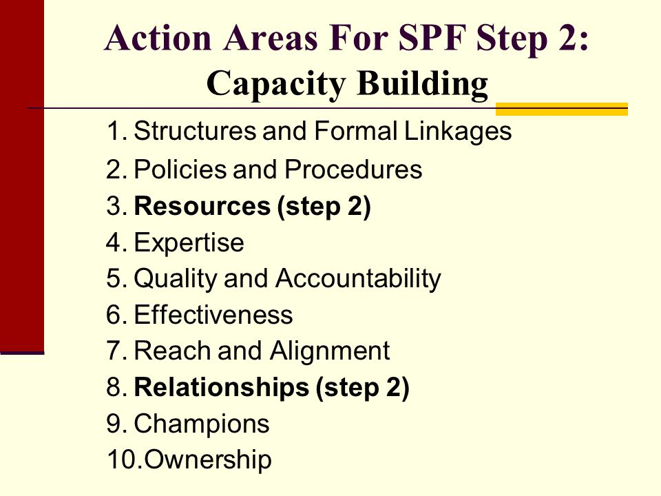 Action Areas For SPF Step 2: Capacity Building