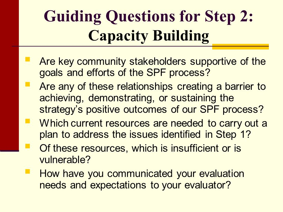 Guiding Questions for Step 2: Capacity Building