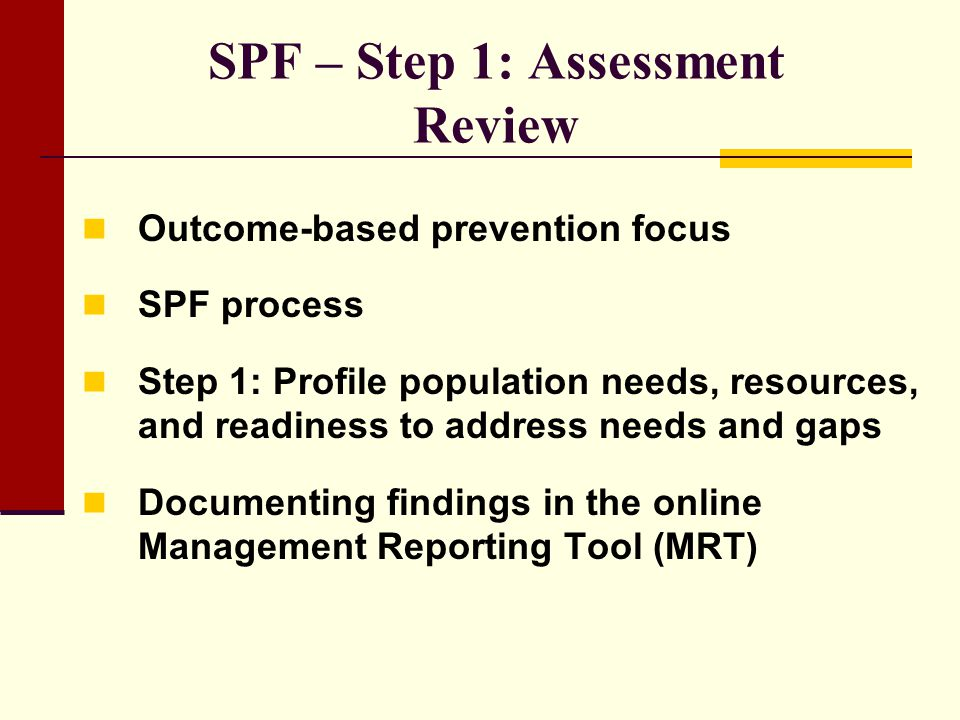 SPF – Step 1: Assessment Review
