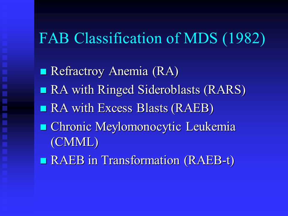 FAB Classification of MDS (1982)
