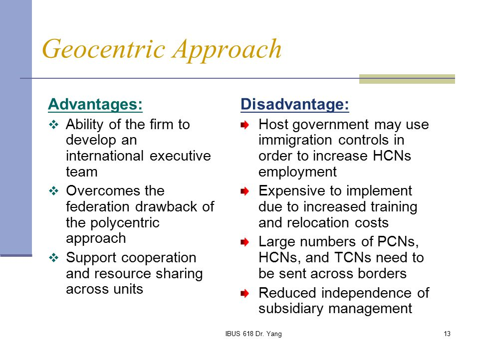 polycentric staffing advantages and disadvantages