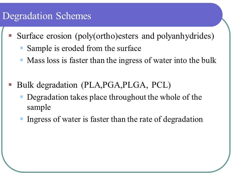Biodegradable Polymers: Chemistry, Degradation and
