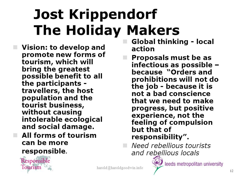 Jost Krippendorf The Holiday Makers