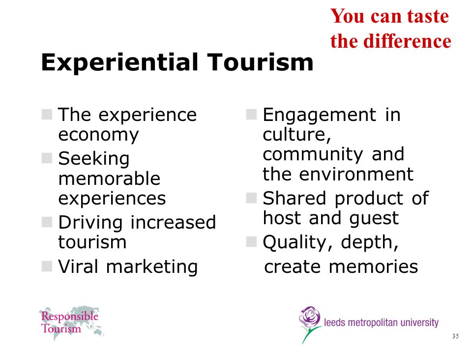 Experiential Tourism You can taste the difference